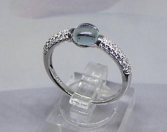 Clear blue topaz silver women ring size 56