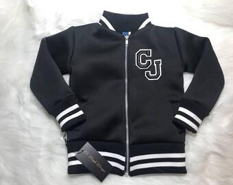 Handmade Childrens Sports Bomber Custom Jacket - Black