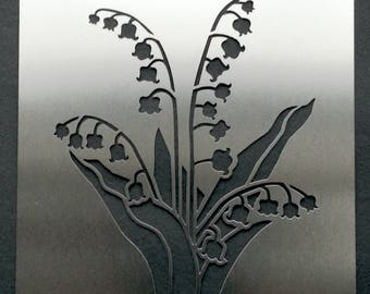 Lily of the Valley Flower Stainless Steel Metal Stencil 10cm x 8.5cm