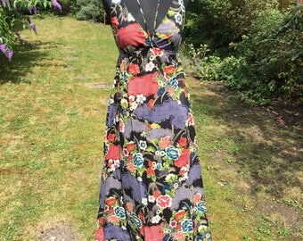 Long cotton print summer dress, boho, hippie dress, festival style, bohemian, summer party dress