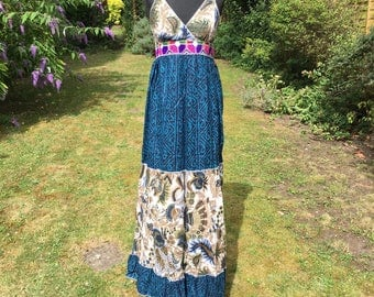 Long summer maxi dress, hand embroidered, 100% cotton dress, hippie, boho style, Rajasthani embroidery, bohemian