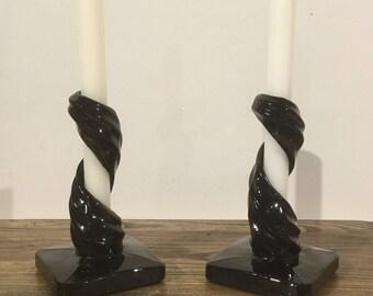 Pair of Unique Black Glass Swirl Candleholders, Black Glass Candlesticks