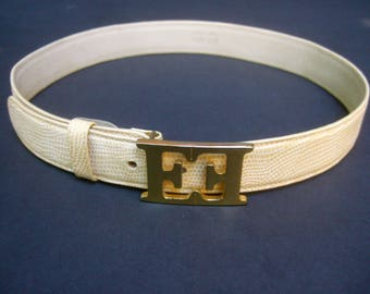 ESCADA Gilt Buckle Ivory Embossed Leather Belt
