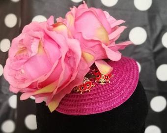 Pink Ladybird Fascinator Cute Retro Vintage Fun Gift Garden Party Wedding Little Bird Quirky Original Unique