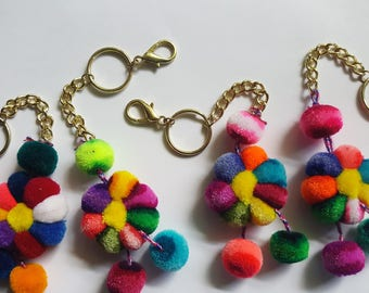Pompom Keychains With Gold Hoop, Tribal Keychain, Backpack keychain