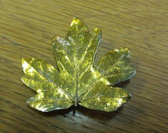 Vintage Gold Leaf Tone Brooch - Kitsch Chic Handmade Piece - Canada Autumn