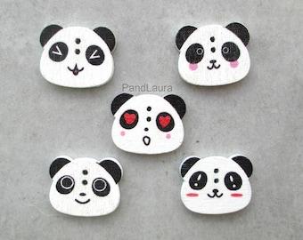 Set of 5 panda [LP1] themed wooden buttons