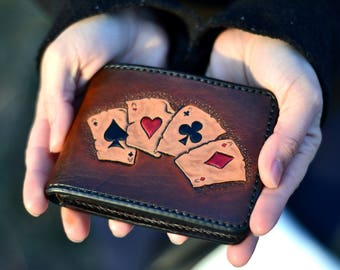 Texas holdem, Vegas poker full house cards, four of a kind aces hand tooled mens wallet, brown leather, hand stitched customized billfold