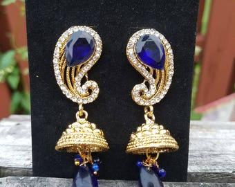 Gold Pearl Dangle Drop Earrings