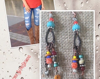 Colorful artisan dangling earrings by ATouchofBlingDesigns