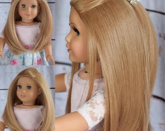"""Custom Doll Wig for 18"""" American Girl Doll  - Heat Safe - Tangle Resistant - fits 10-11"""" head circumference of any doll Doll Wig Natural"""