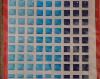 Mosaic stickers in shades of blue plastic Board