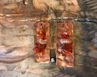 Copper earrings with carnelian stones