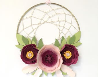 Custom Colors - Paper Flower Dreamcatcher with Paper Leaves - Nursery / Party Decor