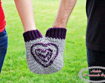 Crochet Pattern: Smitten Mitten to hold hands with your loved one (spouse, boyfriend, girlfriend, fiance, children) on cold days