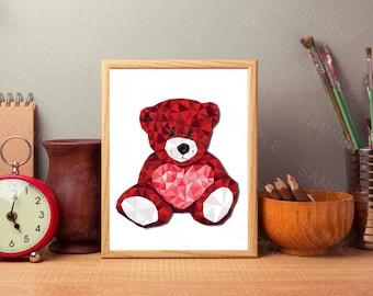 Red Geometric Bear,Heart,Printable Art, Home Printable, Geometric Bear, Animal Poster, Bear Illustration, Bear Wall Art, Home Decor, 8 x 10