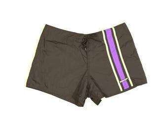 SPEEDO Women's Vintage Black Purple Green Swim Board Shorts Size Large