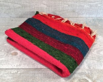 """Vintage Southwestern Hand Woven Wool Rug Wall Tapestry~Mexican Western Striped Bright Vibrant Color 27"""" by 39"""" Original Cloth Tag"""