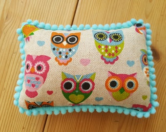 Wise Owls Pin Cushion / Sewing Room / Craft Room / Shabby Chic / Country Cottage / Multi Pin Cushion / Pin Cushion
