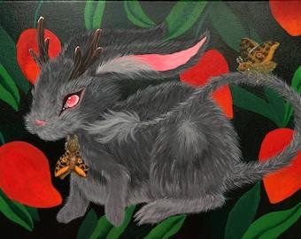 "Jackalope painting, acrylic on canvas original artwork 14""X10"""