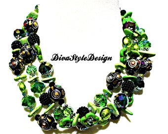 Green Multi Strand Statement Necklace with Turquoise, Magnesite, & Crystal
