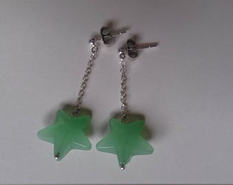 Green star sterling silver earrings