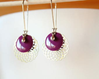 silver filigree and purple sequin rosette earrings