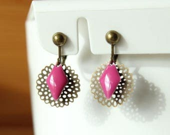 Filigree pink diamond sequins magenta and rose clip earrings