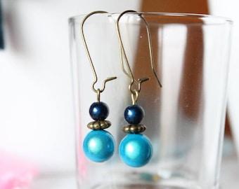 Earrings sleepers blue miracle beads