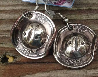 US State Quarter Coin Earrings -- Cowboy Hat