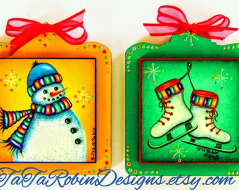 342 Snow Days Decorative Painting Pattern Packet,Christmas Ornaments,Snowman,Ice Skates,Bright Festive Christmas Colors,Laser Cut Wood,DIY