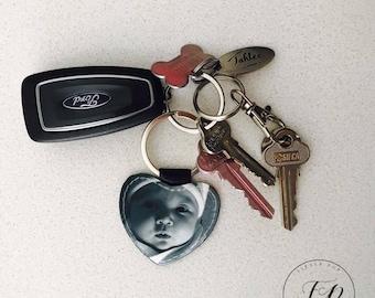 Photo Keyring, Faux Leather Keyring, 2 Photos, Custom made Keyring.