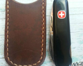 Leather Sleeve for knive, Leather knive sleeve, Leather knive case, Leather knive pocket, Front Pocket knives holder, Dark brown leather