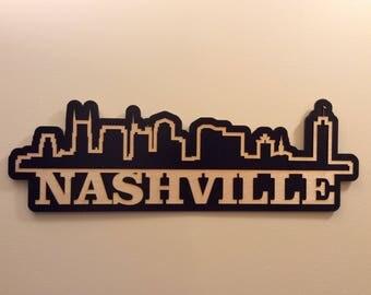 Nashville, Tennesse skyline, 3D, wood, laser cut