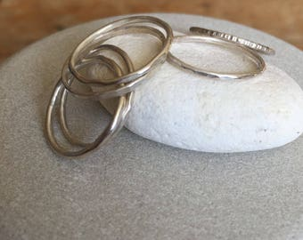 Silver Stacking rings . Assorted textures and sizes