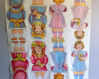 Vintage Rag dolls pattern, screen printed Cotton sheet, 1916, Bethnal Green Museum, Hulbert fabrics.