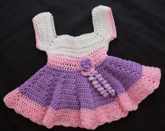 Baby dress White Pink Purple with flower