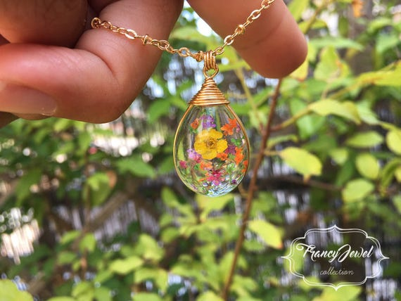 OOAK necklace, boho chic, drop charm, unique flower necklace, dried flower pendant, real flowers jewelry, made in Italy, Mother's gift