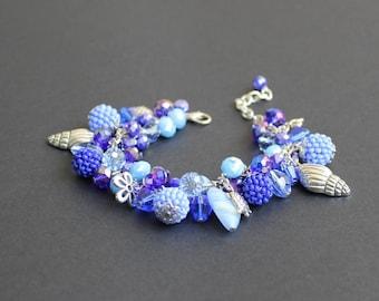 Crystal Czech bead bracelet Charm chunky bracelet Charm bracelet blue Beach theme jewelry Blue handmade bead Seaside jewelry Summer bracelet