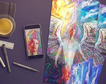 Angel Art Print, New Age Angel Art Print, Beautiful Angel Art Print, Guardian Angel Art, Fantasy Angel Art, Colourful Angel Art