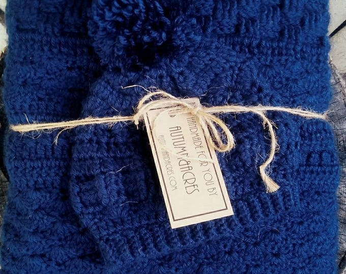 Country Blue Crochet Heirloom Baby Blanket and pom pom Hat (CHOOSE YOUR COLORS)