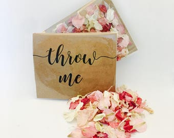 Biodegradable  confetti - pale & dark pink with off white petals - flower petals - calligraphy 'throw me' kraft packet - vintage weddings