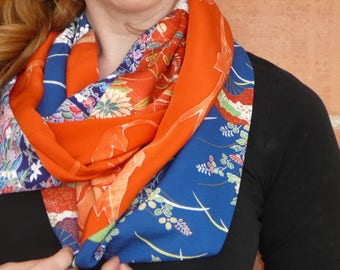 Silk infinity scarf, Recycled kimono silk, Showy circle scarf, Unique cowl, Eye catching, Soft & silky, Large, Floral Design, Unique, 236