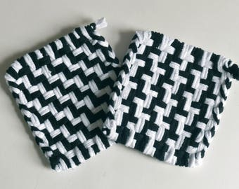 "Set of 2: Woven pot holders, hot pads - ""Zebra II"""