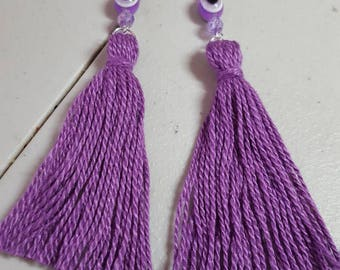 Purple tassel earring