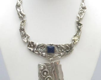Vintage Handmade Sterling Silver Sodalite Ornate Panel Link Style Necklace 16""