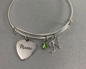 Meme - Meme Gifts - Gift for Grandma- Grandmother Jewelry - Charm Bracelet - Personalized Jewelry- Valentine Gift - Bangle Bracelet