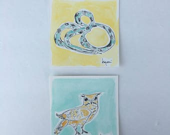 tiny art, watercolor, ink, snake art, owl art, original painting, original art