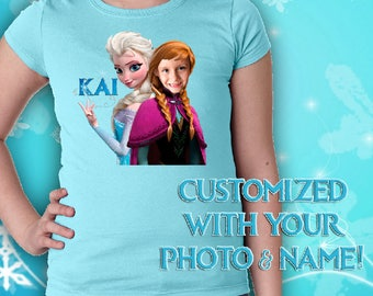 CUSTOM Frozen Shirt * Personalized with Photo and Name * Custom Frozen Girls Shirt * Frozen Photo T-Shirt * Elsa and YOU custom photo & Name