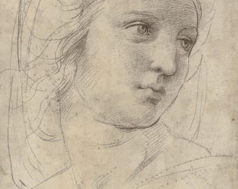 Copy of Raffaello , Head of a Muse , Raphael drawing, Renaissance art